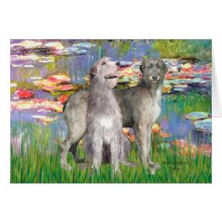 Irish Wolfhound Pair - Lilies 2 - Customized Greeting Card