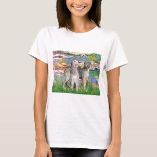 Irish Wolfhound Pair - Lilies 2 T-Shirt