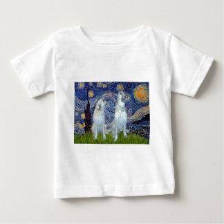 Irish Wolfhound Pair - Starry Night Baby T-Shirt