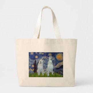 Irish Wolfhound Pair - Starry Night Jumbo Tote Bag