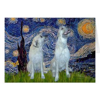 Irish Wolfhound Pair - Starry Night Greeting Card