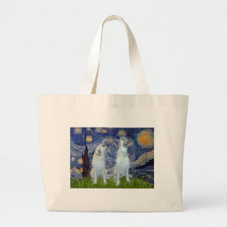 Irish Wolfhound Pair - Starry Night Large Tote Bag