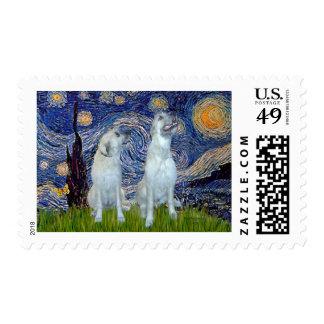 Irish Wolfhound Pair - Starry Night Postage Stamp