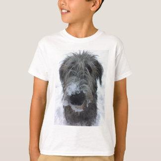 irish wolfhound playing in the snow T-Shirt