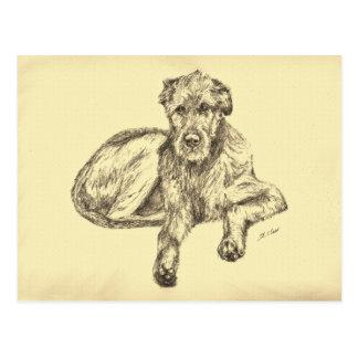 Irish Wolfhound Puppy Postcard