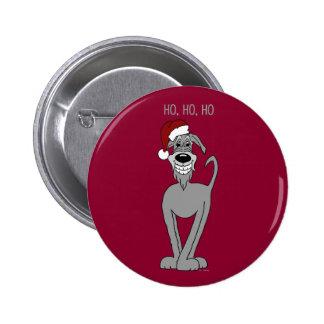 Irish Wolfhound Santa Pinback Button