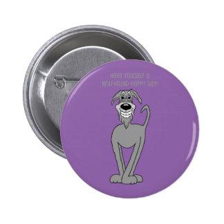 Irish Wolfhound Smile Pinback Button