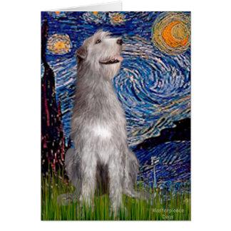 Irish Wolfhound - Starry Night (Vert) Greeting Card