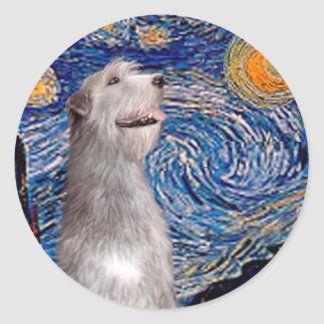 Irish Wolfhound - Starry Night (Vert) - Customized Classic Round Sticker