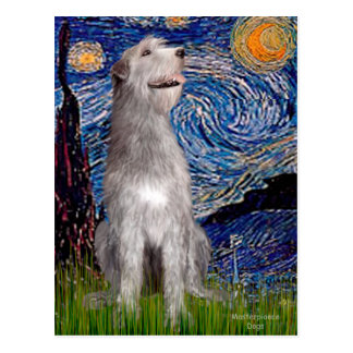 Irish Wolfhound - Starry Night (Vert) - Customized Post Card