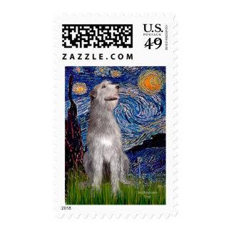 Irish Wolfhound - Starry Night (Vert) Postage Stamps