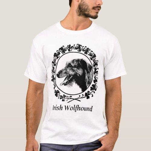 Irish Wolfhound with Shamrocks Apparel T_Shirt