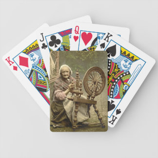 Irish Woman and Spinning Wheel 1890 Bicycle Playing Cards