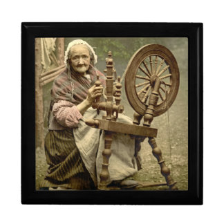 Irish Woman and Spinning Wheel 1890 Keepsake Box