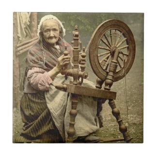 Irish Woman and Spinning Wheel 1890 Ceramic Tiles