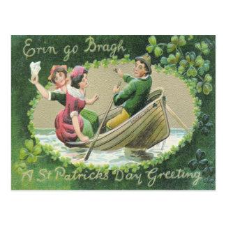 Irish Woman Man Rowboat Shamrock Postcard