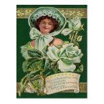 Irish Woman Rose Shamrock Clay Pipe Harp Postcard