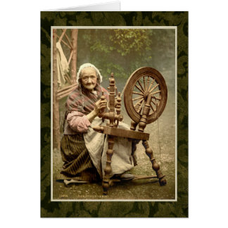 Irish Woman With Her Spinning Wheel Card
