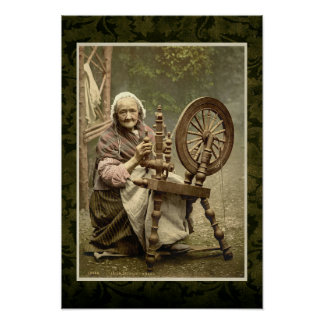Irish Woman With Her Spinning Wheel Poster