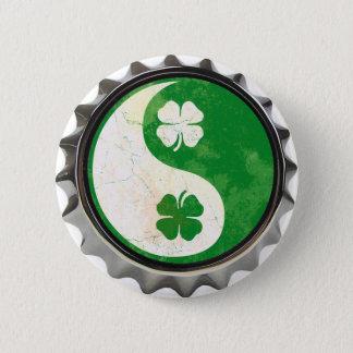 Irish Yin Yang Shamrock Button