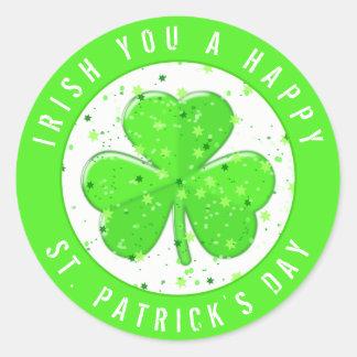 Irish You A Happy St. Patrick's Day Green Shamrock Classic Round Sticker