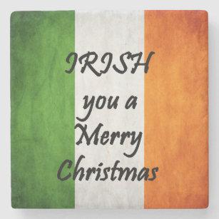 Merry Christmas In Irish.Irish You A Merry Christmas Ireland Flag Coaster