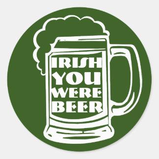 Irish You Were Beer II Classic Round Sticker