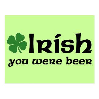 Irish You Were Beer Postcard
