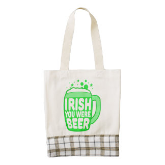Irish You Were Beer Zazzle HEART Tote Bag
