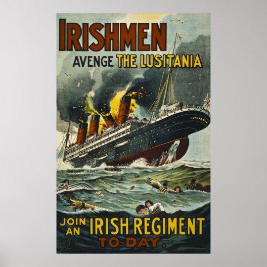 Irishmen Avenge the Lusitania Vintage Recruitment Poster