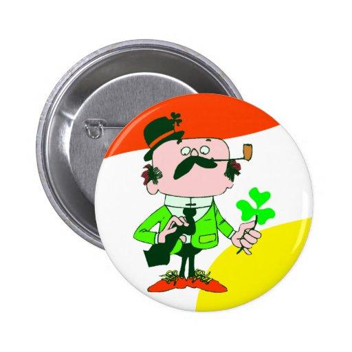 Irishmen Holding Shamrock Button