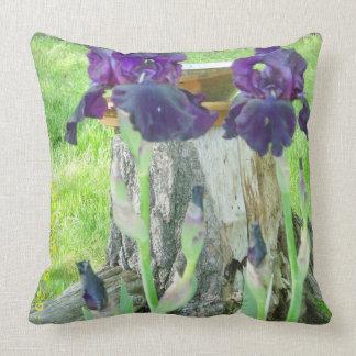 Irisies azul marino en una almohada cojín decorativo
