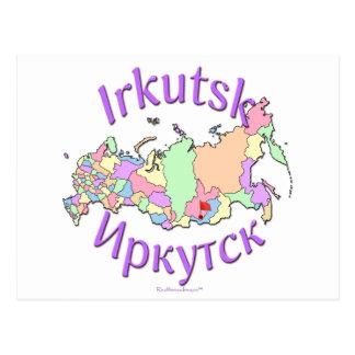 Irkutsk Russia Map Postcard