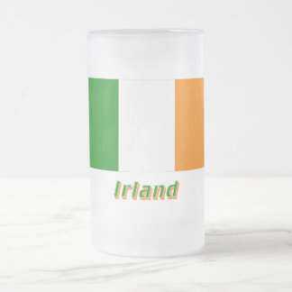 Irland Flagge mit Namen 16 Oz Frosted Glass Beer Mug