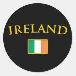 Irlanda de oro etiquetas redondas