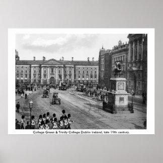 Irlanda del siglo XIX, universidad Dublín verde Impresiones