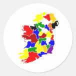 Irlanda-Mapa Pegatinas Redondas