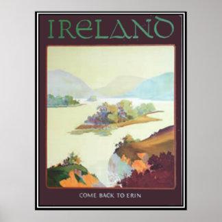 Irlanda, vuelta a la impresión de Erin Póster