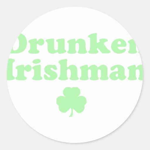 Irlandés borracho etiqueta redonda