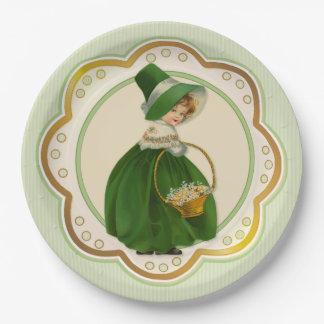 Irlandés Colleen y cesta Plato De Papel De 9 Pulgadas