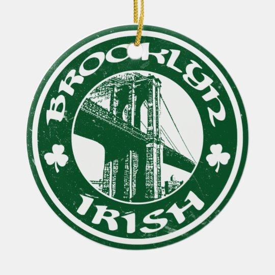 Irlandés de Brooklyn Adorno Navideño Redondo De Cerámica