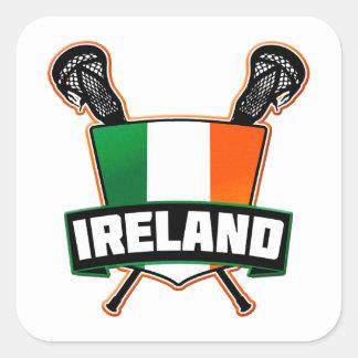 Irlandés de Irlanda LaCrosse Pegatina Cuadrada