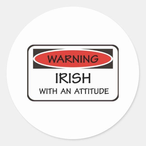 Irlandés de la actitud pegatina redonda