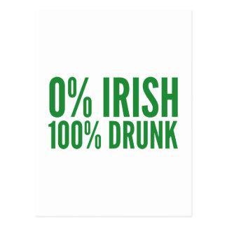 Irlandés del 0% el 100% borracho tarjeta postal
