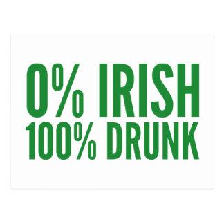 Irlandés del 0% el 100% borracho tarjetas postales