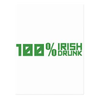 Irlandés del 100% el 100% borracho - verde del día tarjeta postal