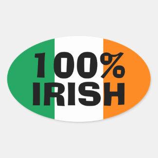 Irlandés del 100% pegatina de oval