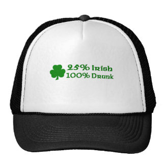 Irlandés del 25 el 100 borracho gorro
