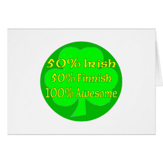 Irlandés del 50% el 50% el 100% finlandés impresio tarjeta de felicitación