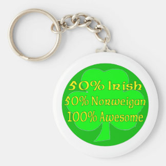 Irlandés del 50% el 50% Norweigan el 100% impresio Llavero Redondo Tipo Pin